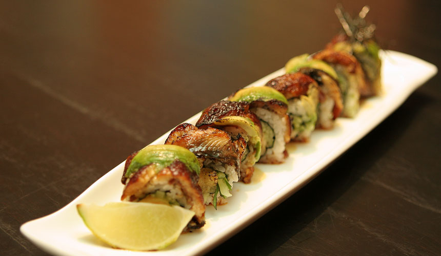 Dragon Roll - Shrimp Tempura and Snow Crab Meat covered with Unagi and Avocado.